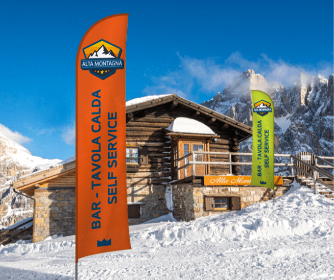 Vela pubblicitaria per marketing in montagna