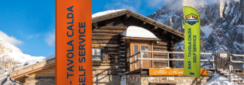 Vela pubblicitaria per marketing in montagna